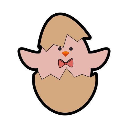 Eierschale mit niedlichen Hühnchen-Symbol auf weißem Hintergrund. Vektor-Illustration Standard-Bild - 78923588