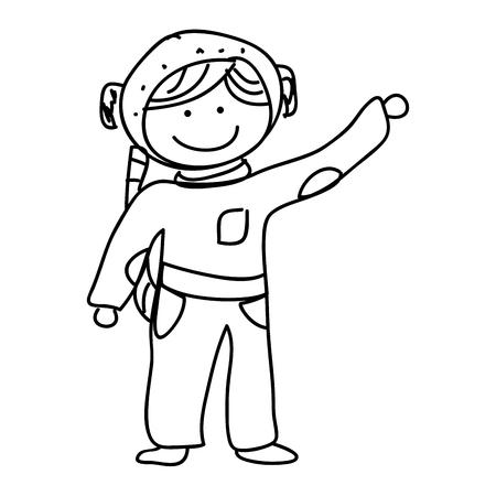 astronaut drawing avatar character vector illustration design