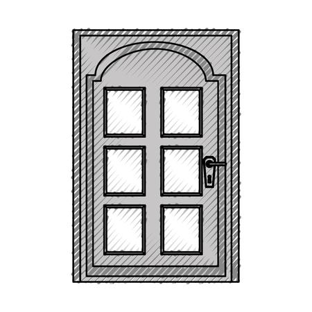 モダンな家のドアのアイコン ベクトル イラスト デザイン  イラスト・ベクター素材