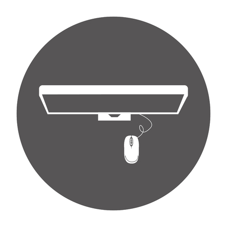 monitor computer with mouse isolated icon vector illustration design