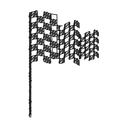 チェッカーフラッグは、アイコン ベクトル イラスト デザインを分離しました。