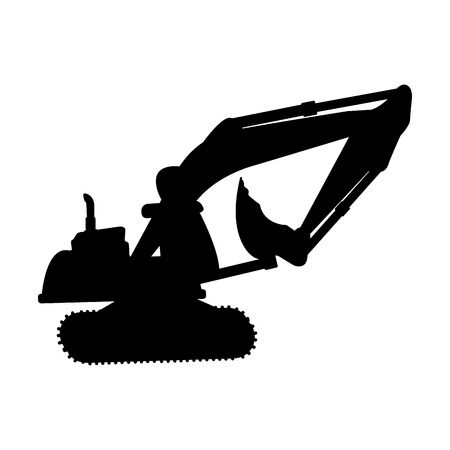 excavator silhouette isolated icon vector illustration design Illustration
