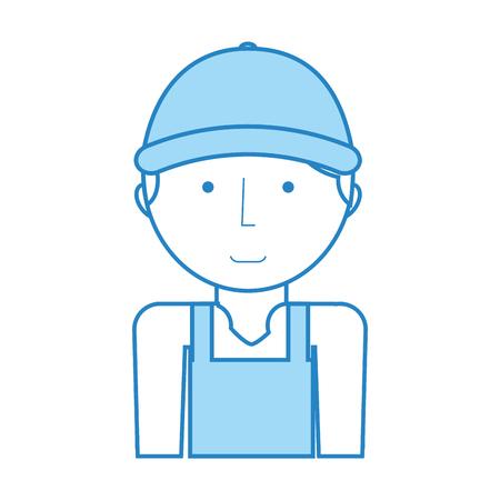 mechanic worker with overalls vector illustration design