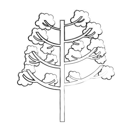 tree plant autumn icon vector illustration design