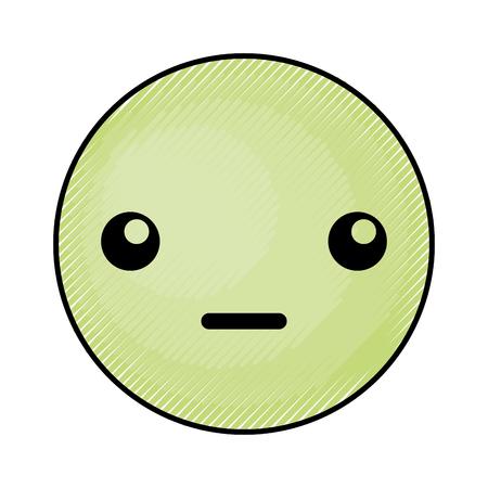 cute green kawaii emoticon face vector illustration graphic design Illustration