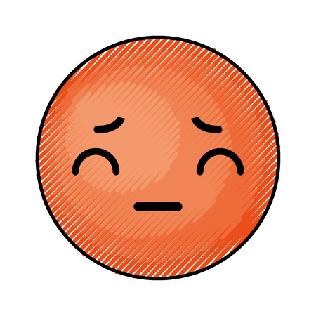 cute orange kawaii emoticon face vector illustration graphic design