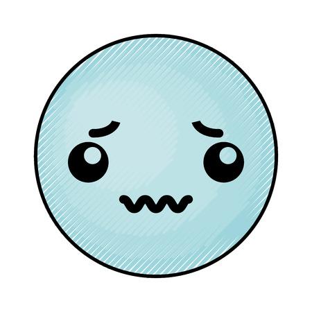 cute blue kawaii emoticon face vector illustration graphic design Illustration