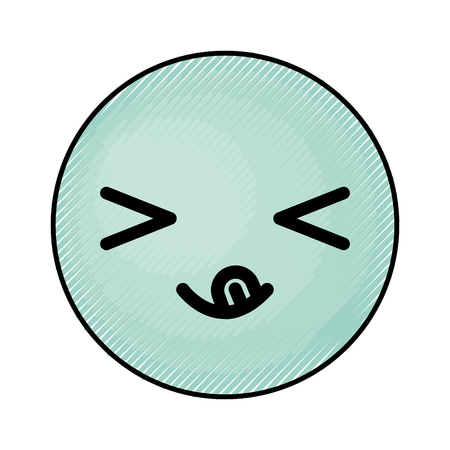 eyes are closed: cute blue kawaii emoticon face vector illustration graphic design Illustration