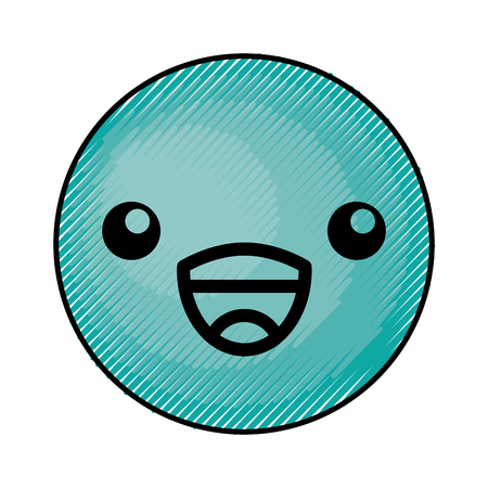 cute blue kawaii emoticon face vector illustration graphic design Çizim