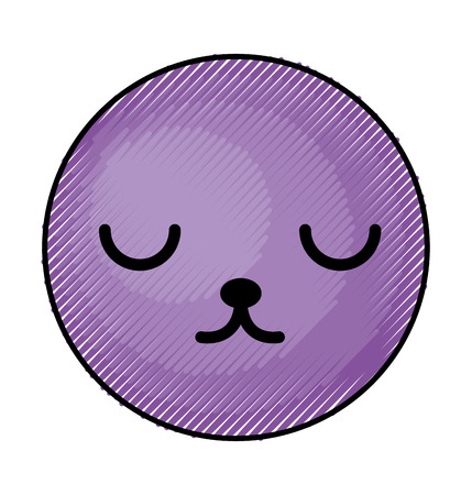 cute purple kawaii emoticon face vector illustration graphic design Иллюстрация