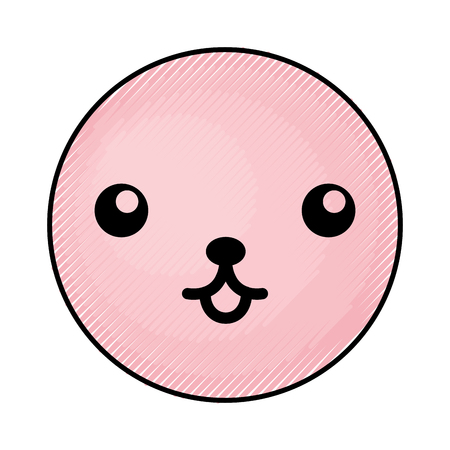 cute pink kawaii emoticon face vector illustration graphic design Çizim