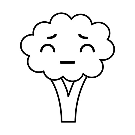 Kawaii broccoli cartoon vector illustration graphic design