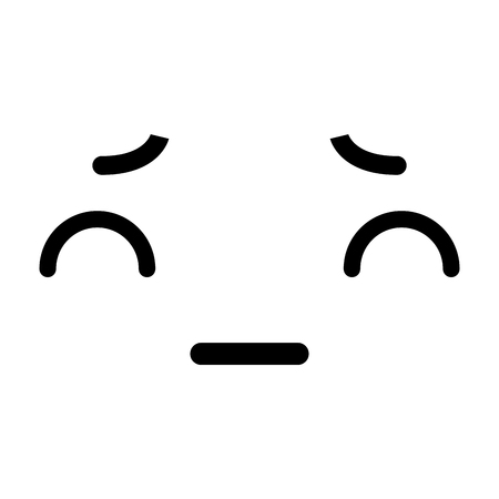 black and white kawaii emoticon face vector illustration graphic design Imagens - 78974048