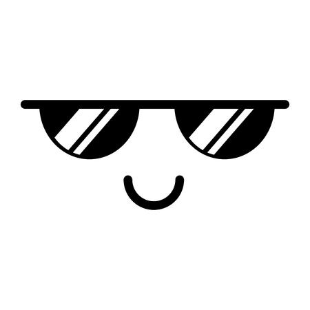 Zwart-wit kawaii emoticon gezicht vector illustratie grafisch ontwerp