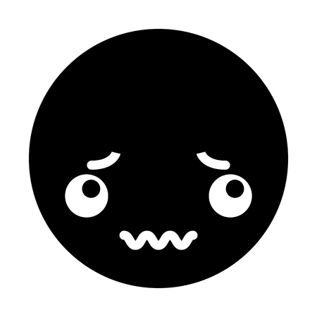 cute black kawaii emoticon face vector illustration graphic design Illustration