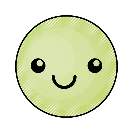 cute green kawaii emoticon face vector illustration graphic design Çizim