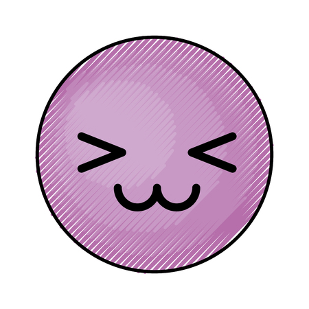 cute purple kawaii emoticon face vector illustration graphic design Ilustração