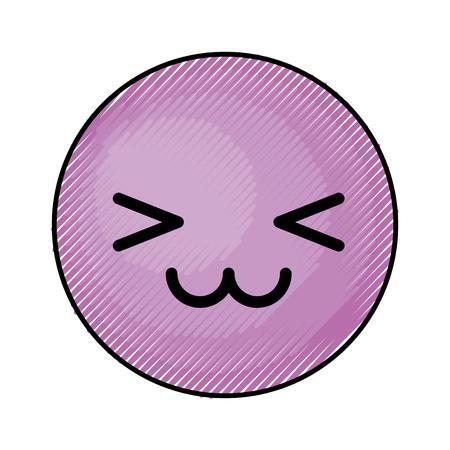 schattig paars kawaii emoticon gezicht vector illustratie grafisch ontwerp Stock Illustratie