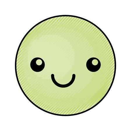 cute green kawaii emoticon face vector illustration graphic design Imagens