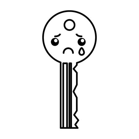 Kawaii sleutel cartoon lustratie grafisch ontwerp icoon