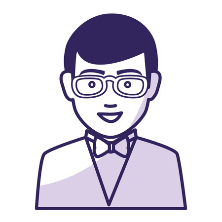 human face: businessman worker with glasses isolated icon vector illustration design