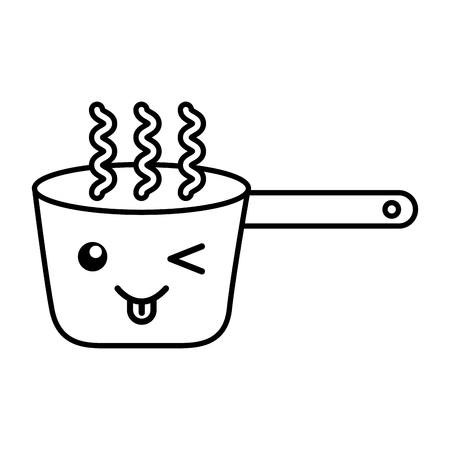 Kawaii Cooking pot cartoon vector illustration graphic design