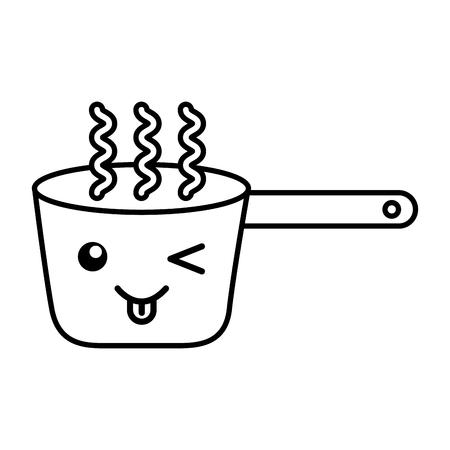 Kawaii, das Topfkarikaturvektor-Illustrationsgrafikdesign kocht Standard-Bild - 78978449