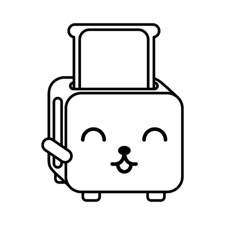 Kawaii brood broodrooster cartoon vector illustratie grafisch ontwerp