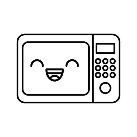 Kawaii micro-ondes cartoon vector illustration design graphique