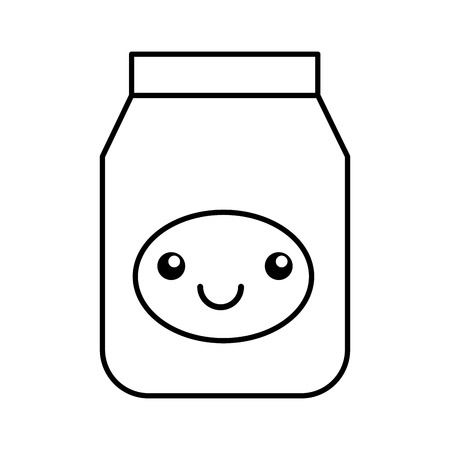 Kawaii jelly jar cartoon vector illustratie grafisch ontwerp Stock Illustratie