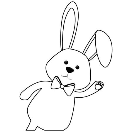 흰색 배경 위에 나비 넥타이 아이콘으로 귀여운 토끼. 벡터 일러스트 레이 션