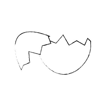 broken eggshell icon over white background. vector illustration