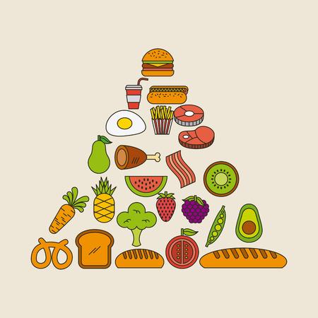 Piramide voedsel illustratie vector pictogram ontwerp grafisch geïsoleerd Stock Illustratie