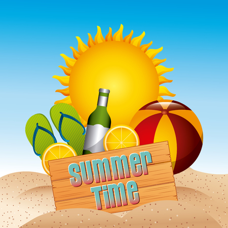 summer time emblem tropical beach vacation image vector illustration design Illustration