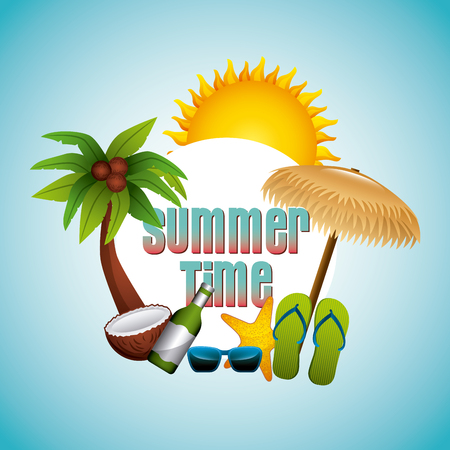 summer time emblem tropical beach vacation  over blue background image vector illustration design Illustration