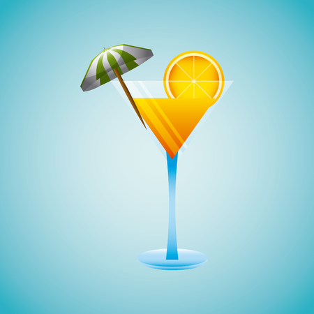 tropical beach with cocktail vacation image vector illustration design
