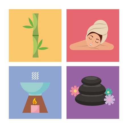 Spa utensils icons set illustration vector graphic design