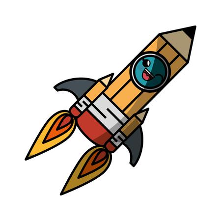 grafit: ołówek rakieta kreskówka buźka wektor ikona ilustracja projekt graficzny