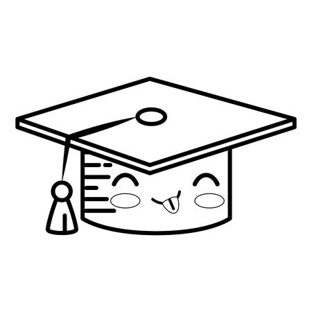 graduation cap cartoon smiley vector icon illustration graphic design
