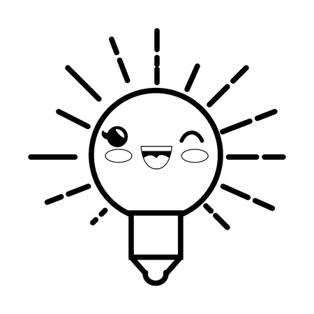 light bulb cartoon smiley vector icon illustration graphic design