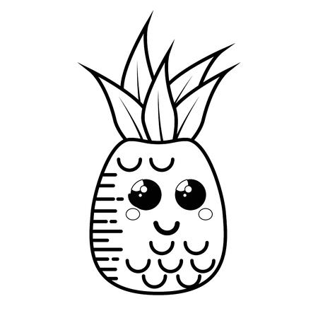 pineapple fruit cartoon smiley vector icon illustration graphic design