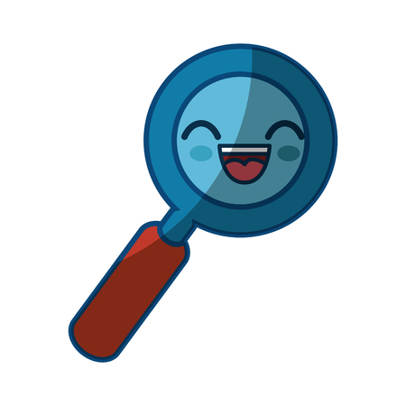 magnifying glass cartoon smiley vector icon illustration graphic design