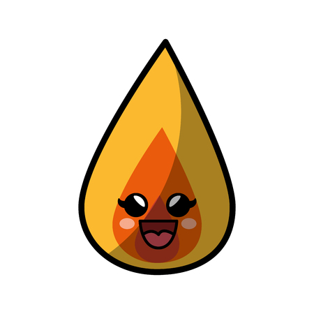 fire flamme cartoon smiley vector icon illustration graphic design Ilustração