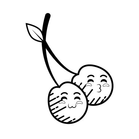 cherry cartoon smiley vector icon illustration graphic design