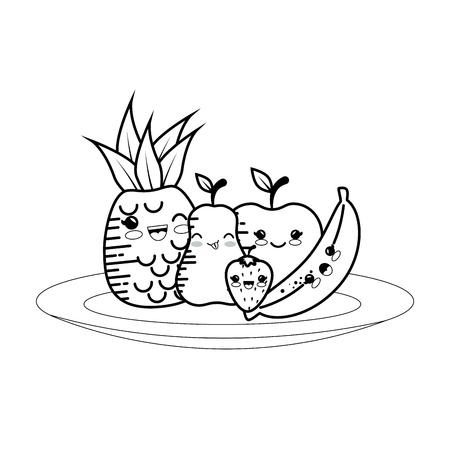 fruits cartoon smiley vector icon illustration graphic design