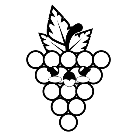 grape cartoon smiley vector icon illustration graphic design
