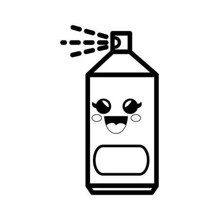 spray can cartoon smiley vector icon illustration graphic design