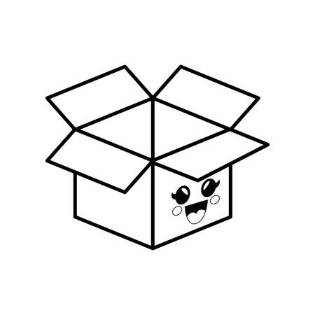 box cartoon smiley vector icon illustration graphic design Illustration