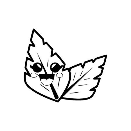 leaves cartoon smiley vector icon illustration graphic design