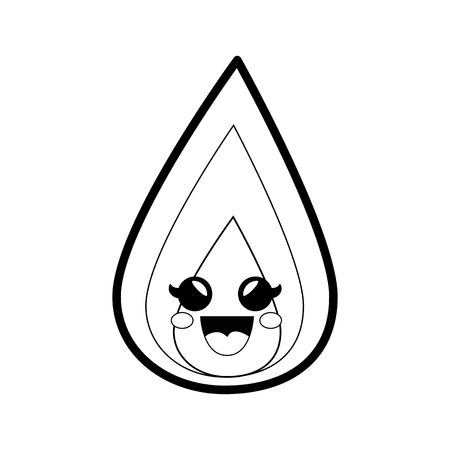 fire flamme cartoon smiley vector icon illustration graphic design Illustration